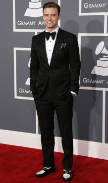 2013 - Attending the Grammy Awards in a shiny tuxedo