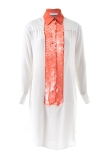 Sequinned Silk Shirt (Orange)