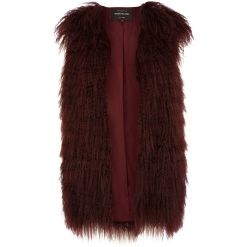 RIVER ISLAND Dark Red Mongolian Fur Gilet €200