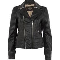 RIVER ISLAND Black Zip Collar Biker Jacket €160