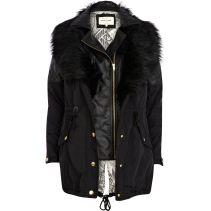 RIVER ISLAND Black 3 In 1 Faux Fur Parka Jacket €135