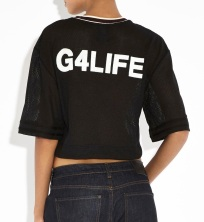 RIHANNA FOR RIVER ISLAND Black G4LIFE Mesh Cropped T-Shirt €35