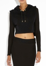 RIHANNA FOR RIVER ISLAND Black Mesh Sleeve Cropped Hoodie €55