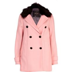 RIVER ISLAND Pink Faux Fur Collar Double Breasted Coat €87