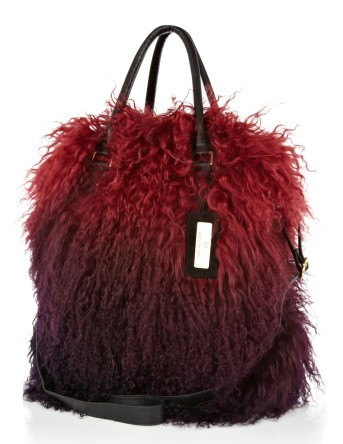 RIVER ISLAND Red Ombre Mongolian Fur Tote Bag €200