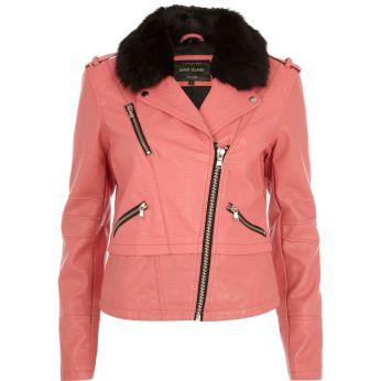 RIVER ISLAND Pink Faux Fur Collar Biker Jacket €80