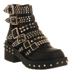 JEFFREY CAMPBELL Colburn Buckle Ankle Boot Black Leather Silver Studs €155