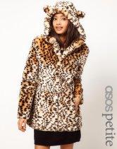 ASOS PETITE Exclusive Faux Fur Leopard Print Coat With Ears €25.38