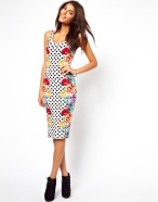 ASOS Midi Bodycon Dress In Spot And Floral Print