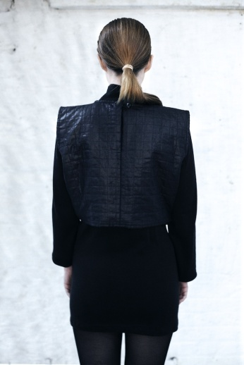 100% organic wool polo dress, Black beetle finished Tunic with quilting and corded detail (back)