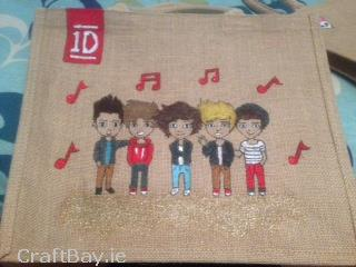 Handpainted One Direction Shopping Bag €18 http://craftbay.ie/Product/842/Kids/Girl/Handpainted-Shopping-Bag-Can-be-made-with-any-Name