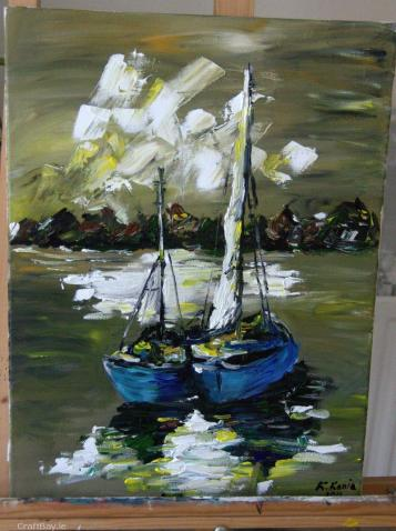 Blue Ships by K Kania €170 http://craftbay.ie/Product/686/Art/Paintings/blue-ships