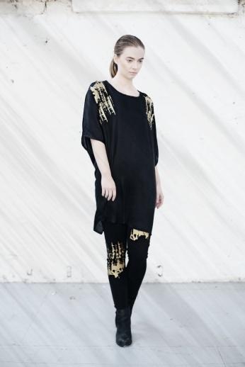 Bamboo silk twist sleeve dress with hand printed gold finish, Organic fairtrade cotton leggings with hand printed gold finish