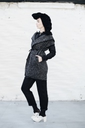 Irish wool Bomber jacket with salmon leather finish, Irish tweed overcoat, Black Irish wool Islander pants, Black woolen neck piece worn as head piece