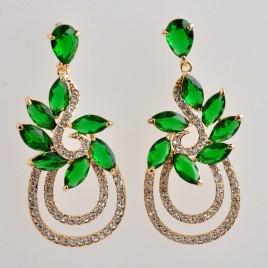 Jasper Jewellery €52 - Emerald Two Tone Chandelier Earrings