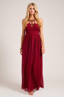 Little Mistress €78 - Mulberry Heavily Embellished Halterneck Chiffon Maxi Dress