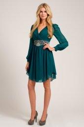 Little Mistress €55 - Forest Green Long Sleeve Cutout Detail Embellished Waist Dress
