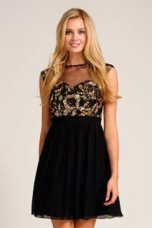 Little Mistress €66 - Black & Gold Hevaily Embellished Mesh Insert Prom Dress
