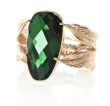 River Island €13 - Green Gemstone Leaf Cuff Ring