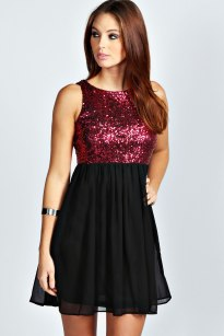 Boohoo €35 - Rosie Open Back Sequin Skater http://www.boohoo.com/restofworld/page/home