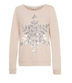 New Look €22.99 - Shell Pink Sequin Snowflake Christmas Sweater