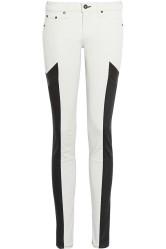 Rag & Bone €140 - Grand Prix Leather-Paneled Twill Jeans http://tinyurl.com/onoyzwq