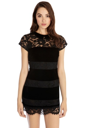 Loved by Mollie @ Oasis €81 - Lace & Velvet Stripe Dress http://www.oasis-stores.com/lace-and-velvet-stripe-dress/lace/oasis/fcp-product/4470122701
