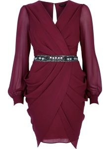 River Island €55 - Dark Red Sequin Waist Draped Dress http://tinyurl.com/pn8ho7c
