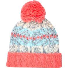 Coral Fair Isle Beanie Hat http://tinyurl.com/nmnqptw