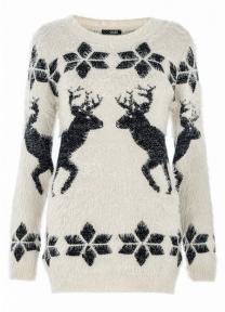 Quiz @ Debenhams €41.75 - Beige and Black Reindeer Fuzzy Christmas Jumper
