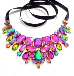 Sparkle Beast Design €22 - Rainbow Rhinestone Necklace