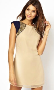 Cream & Navy Embellished Tunic Dress http://www.little-mistress.co.uk/dresses-c101/party-dresses-c103/cream-navy-shoulder-embellished-tunic-dress-p900