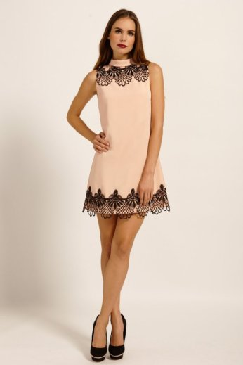 Nude & Black Frill Detail Shift Dress by Paper Dolls http://www.little-mistress.co.uk/clothing-c9/paper-dolls-c76/nude-black-lace-frill-detail-shift-dress-p1150
