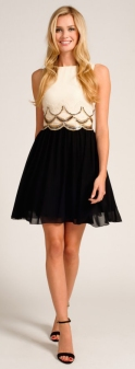 Cream & Black Scallop Skater Dress http://www.little-mistress.co.uk/dresses-c101/party-dresses-c103/cream-black-embellished-scallop-detail-skater-dress-p1185