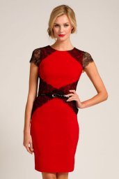 Red & Black Lace Panel Bodycon by Paper Dolls http://www.little-mistress.co.uk/clothing-c9/paper-dolls-c76/red-black-lace-panel-cap-sleeve-bodycon-dress-p1087