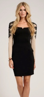 Floral Appliqué Long Sleeve Bodycon http://www.little-mistress.co.uk/dresses-c101/party-dresses-c103/black-cream-embellished-floral-applique-long-sleeve-bodycon-dress-p1036