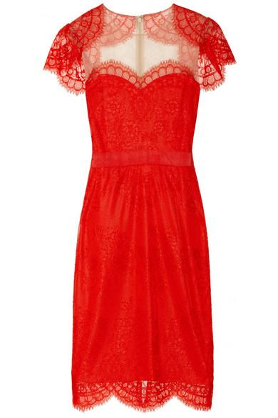 Notte by Marchesa €505 - Shrug-effect Lace Dress http://tinyurl.com/pwqj99s