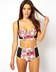 Playful Promises €47.95 - Geo And Mesh Longline Bustier Bikini Top