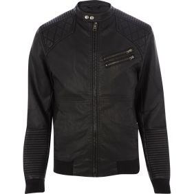 River Island €85 - Quilted Panel Collarless Biker Jacket http://tinyurl.com/okmq7hw