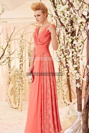 €199 - Spectacular V-neck Watermelon Lace Party Dresshttp://www.fannycrown.com/amazing-v-neck-long-watermelon-evening-dresses.html