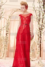 €199 - Darling Lace Ruby Designer Dress http://www.fannycrown.com/charming-bateau-long-ruby-evening-dresses.html