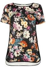 Floral print textured t-shirt, Oasis