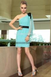 €139 - Wonderful One Shoulder Sky Blue Cocktail Dress http://www.fannycrown.com/lovely-one-shoulder-short-sky-blue-cocktail-dresses.html
