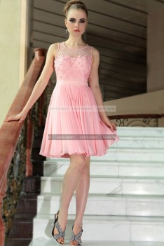 €149 - Sweet Candy Pink Floral Net Debs Dress http://www.fannycrown.com/original-bateau-short-candy-pink-cocktail-dresses.html