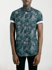 Topman €35.75 - dark green floral print short sleeve shirt http://bit.ly/178WdbF