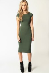 Boohoo €11 - Cara Cap Sleeve Jersey Bodycon Midi Dress http://bit.ly/1AhOhhW