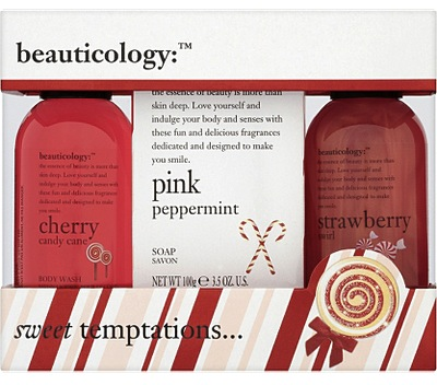 Cherry Candy Cane body wash, Pink Peppermint body lotion and Strawberry Swirl shower crème, Beauticology