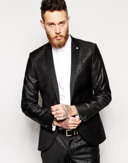 Noose & Monkey €200 - Suit Jacket With Tonal Paisley Print In Skinny Fit http://bit.ly/1BtgrG1