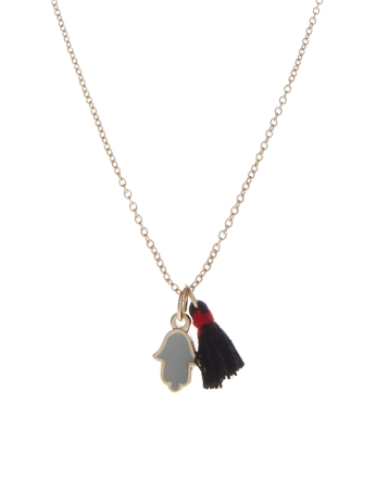 ASOS €8.22 - Hand & Tassel Charm Necklace http://tinyurl.com/qhx476o