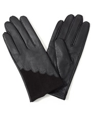 Leather & velvet scallop gloves, Accessorize